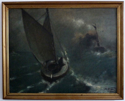 Sailor and Steamer in night-time Storm, um 1900