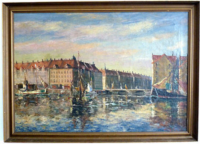 Port channel in Big city, Impressionist, 1. Half 20th Century