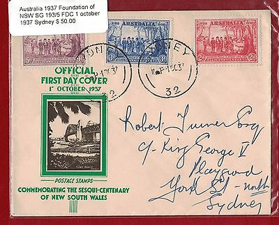 1937 Australia Foundation of NSW SG 193/5 FDC Sydney - 1 Oct 37