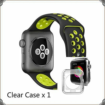 Black Yellow New Style Sports Silicone Strap Band Apple Watch 42mm Clear Case
