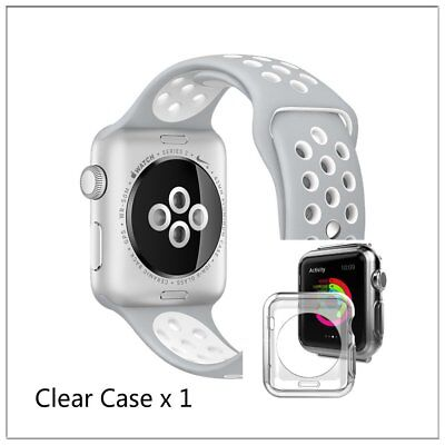 Silver White New Style Sports Silicone Strap Band For Apple Watch 38mm Case x 1