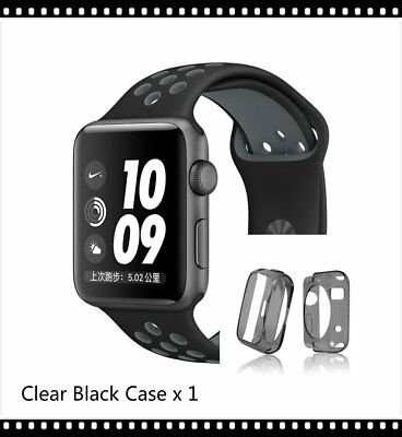 Black Grey New Style Sports Silicone Strap Band For Apple Watch 38mm Black Case