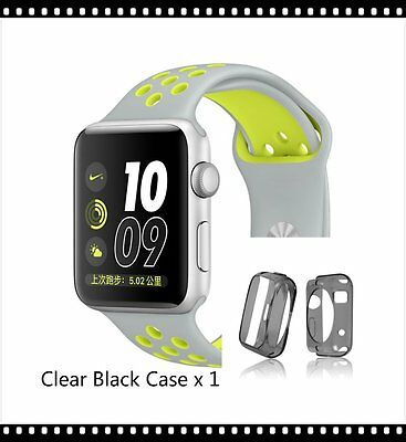 Silver Yellow New Style Sports Silicone Strap Band Apple Watch 42mm Black Case
