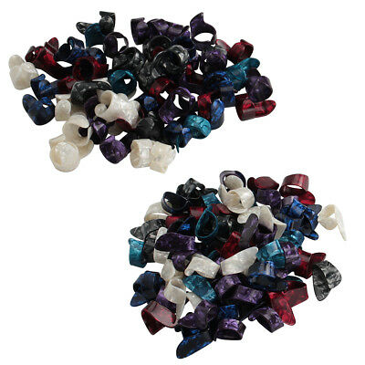 50 Pcs Guitar Tumb Finger Picks and 50 Finger Picks Plectrum Mix Color Celluloid