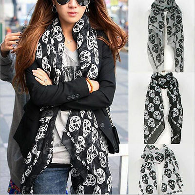 Fashion Womens Classic Skull Print Long Scarf Ladies Voile Wrap Shawl NEW