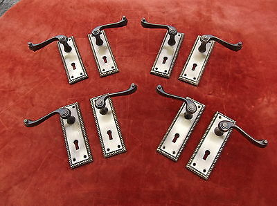 Antique Style Unused Brass Door Handle/key Hole Plates X 8/door Handle Pairs X 4