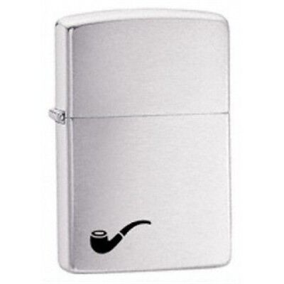 Brushed Chrome Pipe Zippo Lighter - Small Pocket Gift Present Accessory