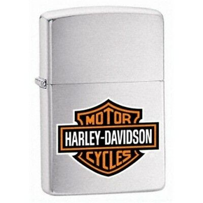 Brushed Chrome Harley Davidson Logo Zippo Lighter - Hd Gift Smokers Accessory