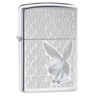 High Polish Chrome Playboy Zippo Lighter - Small Smokers Gift Present Accessory