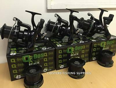 3 x Large 5BB Big Pit Large Carp Fishing Reels Free Runner With Spare Spool QDOS