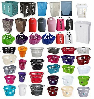 Plastic Large Laundry Washing Basket Hip Clothes Storage Hamper Linen Round Bin