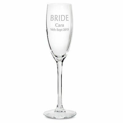 Personalised Engraved Bride Champagne Flute - Wedding, Congratulations
