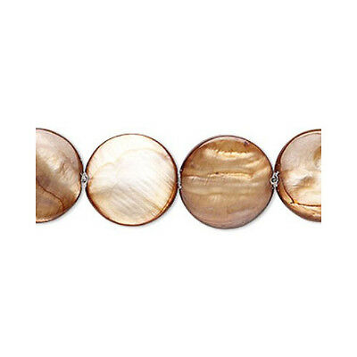 Strand Of 20+ Brown/Orange Mother Of Pearl 14mm Flat Coin Beads YF0700