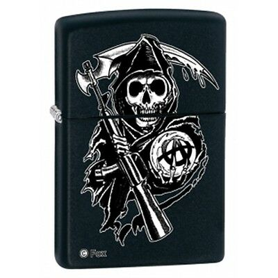 Matte Black Sons Of Anarchy Reaper Zippo Lighter - Small Gift Smokers Accessory