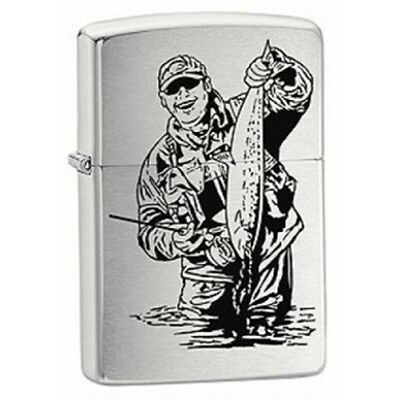 Brushed Chrome Fisherman Zippo Lighter - Pocket Gift Present Smokers Accessory