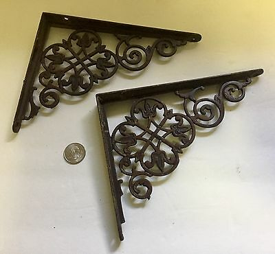 "Set of 2 Antique Cast Iron Fancy ""Le Flur' ""Victorian Shelf Brackets"