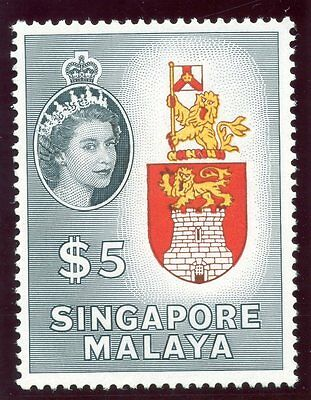 Singapore 1955 QEII $5 yellow, red brown & slate-black superb MNH. SG 52. Sc 42.