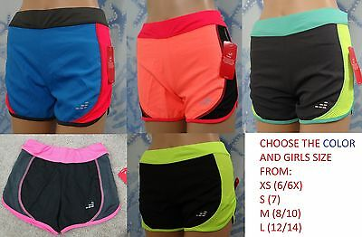 NWT BCG Girls' multi color block/mesh side Running Shorts, youth XS,S,M,L