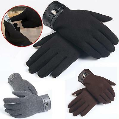 Mens Full Finger Smartphone Touch Screen Cashmere Winter warm Gloves Mittens