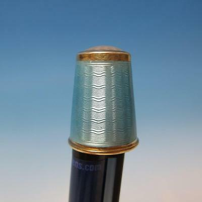 Antique 925 Sterling Silver Thimble Decorated with Blue Enamel #3