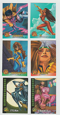 Lot of 6 assorted Marvel trading cards Rogue Jubilee Gambit Storm