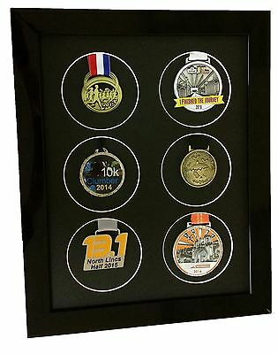 Multi Medal frame for 6 Sports or running Medals Black Finish
