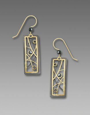 Adajio Twigs and Bubbles Open Rectangle EARRINGS Gold Filled Dangle + Gift Box