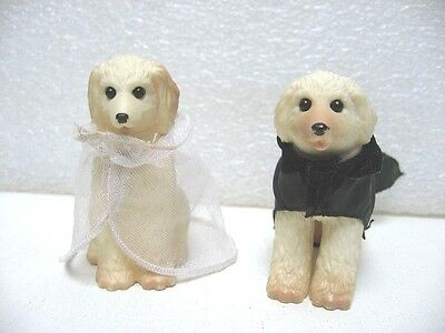 2 FIGURINES CHIEN EN MARIés MARIAGE BARBIE 7 CM DOG FIGURE WEDDING F55