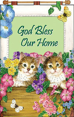 Jeweled Banner Kit ~ Design Works Cat in the Window Home Blessing #DW4134