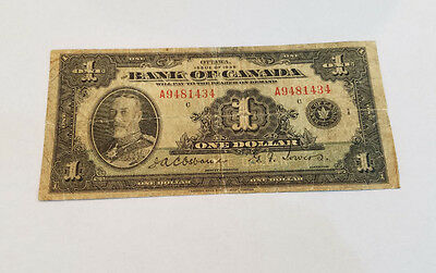 Ottawa issue of 1935 Bank of canada one dollar 1 currency note - 1991