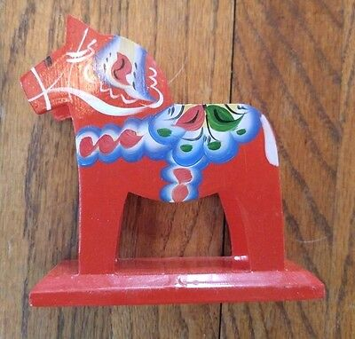 VTG Swedish Akta Dalahemslojd Hand Painted Wood Red Dala Horse Napkin Holder