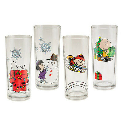Peanuts Holiday X-Mas 10 oz Glass Set of 4 Charlie Brown Lucy Snoopy Linus MINT
