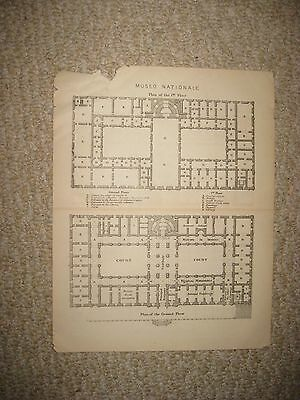 Antique 1890 National Roman Museum Architecture Plan Map Rome Italy Ancient Nr