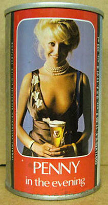 TENNENT'S PENNY IN THE EVENING ss Beer CAN, SCOTLAND, UNITED KINGDOM, Girl, 1/1+