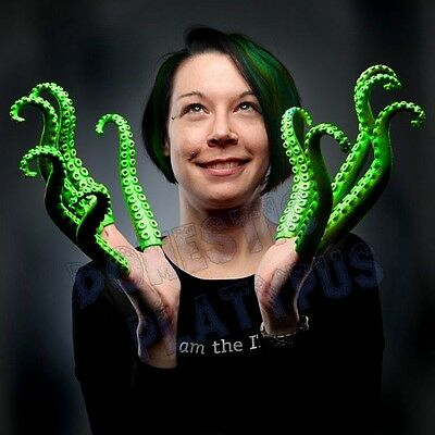 Glow-in-the-Dark Green Rubber FINGER TENTACLES Cthulhu Cosplay, Sets of 5 or 10