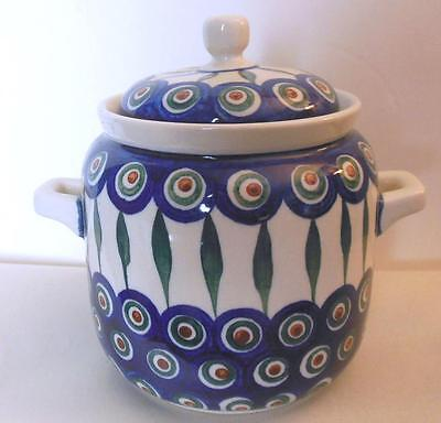 """Covered Jar with Handles Hand Painted Poland 6"""" Boleslawiec"""