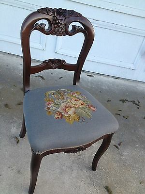 Antique Victorian Needlepoint  Carved Mahogany Side Desk Accent Chair  Cool !!