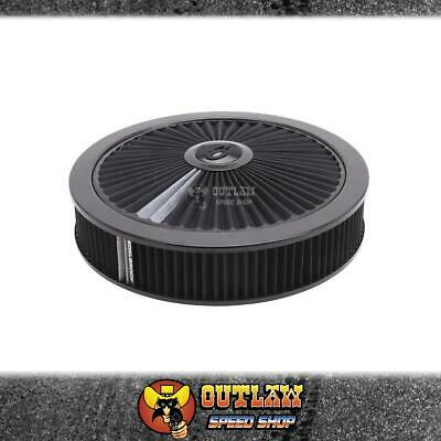 "Edelbrock Air Cleaner 14"" X 3"" Holley Etc With 5.1/8"" Black On Black - Ed43662"