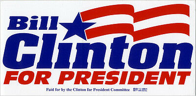 Official 1992 Bill Clinton for President Committee Bumper Sticker (5217)