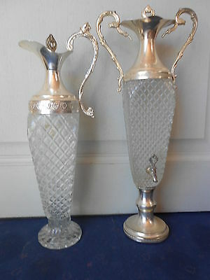 Vintage French metal CUT GLASS ABSINTHE FOUNTAIN + its JUG