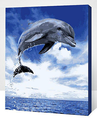 Framed Painting by Number kit A Dolphin Breaking Water Ocean Sea Blue Sky XK7126