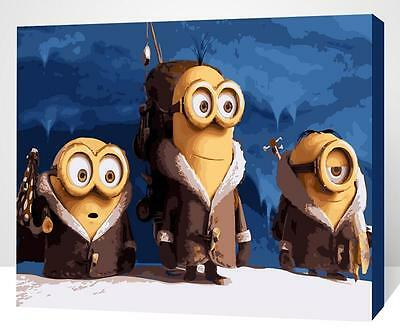 Framed Painting by Number kit Minions Family Animation Cartoon Film DIY XK7127