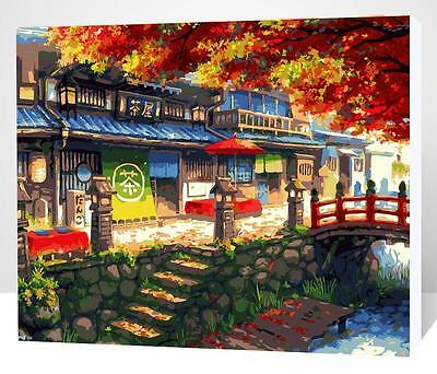 Framed Painting by Number kit Japanese Tea House Village Late Autumn DIY XK7133