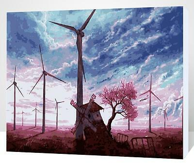 Framed Painting by Number kit Windmill Group Clouds Field Weald Trip DIY XK7139