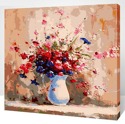 Framed Painting by Number kit A Vase of Flowers Romantic Gift Floral DIY XK7140