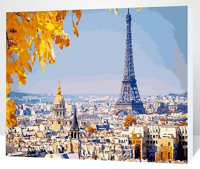 Framed Painting by Number kit Eiffel Tower Paris City Late Autumn Fall XK7145