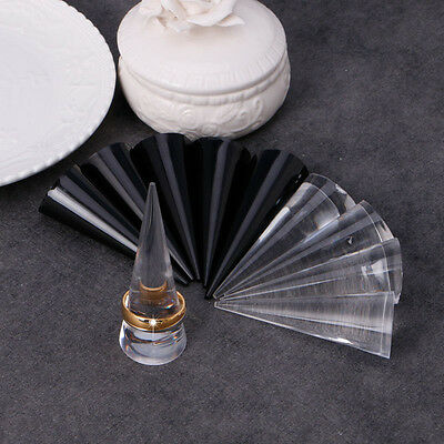 5pcs Acrylic Finger Cone Ring Stand Jewelry Display Holder Show Case Organizer