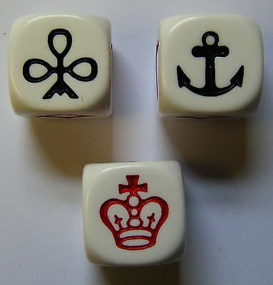 Crown and Anchor Dice x 3 Game Firetop Mountain NEW