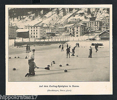 DAVOS, Bilddokument 1904, Curling-Spielplatz, antique print sports /77