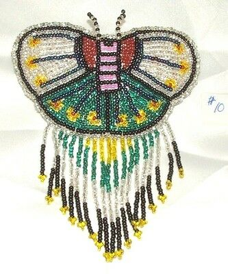 Barrette Beaded Butterfly w Fringe  French clip closure Hair accessory #10